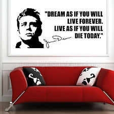 JAMES DEAN usa actor 1950's quote Dream as if you VINYL WALL ART ...