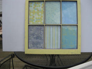 Recycled Window with Decoupaged Paper Panes Under Glass