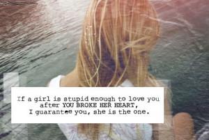 girl, heart, heartbroken, love, one, stupid, the one