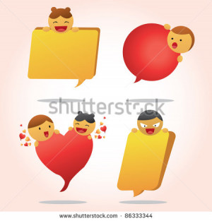 Quote bubble cartoon with two color red and yellow - stock vector