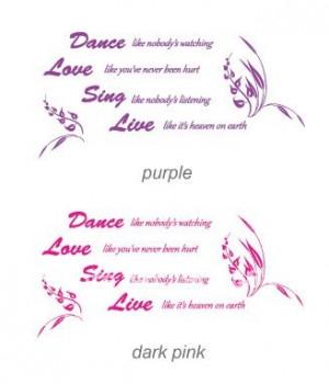 Love Dance Quotes Vinyl dance love sing live