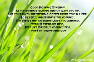 Good Morning SunshineAs the morning