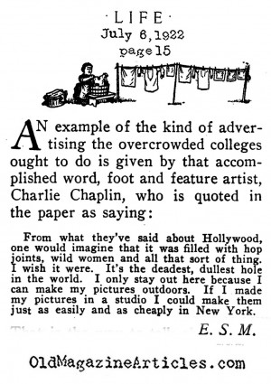 Charlie Chaplin 1920s Article