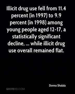 Donna Shalala - Illicit drug use fell from 11.4 percent (in 1997) to 9 ...