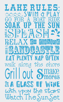 Catalog > Lake Rules, Home Wall Art Decal