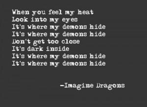 dark, darkness, demons, heat, hide, imagine dragons, lyrics, song ...