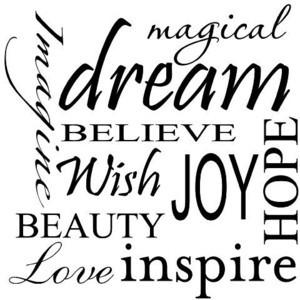Believe Wish Joy Hope Beauty Love Inspire Vinyl Wall Art Words Quotes ...