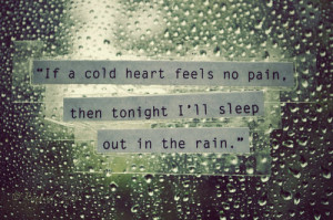 If a cold heart feels no pain, then tonight i'll sleep out in the rain ...