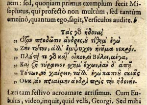Figure 6: A quotation of Greek poetry from Vincentius Fabricius ...