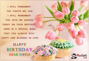Happy Birthday Sister Quote Picture and Sister Birthday Message SMS.