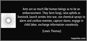 Ants are so much like human beings as to be an embarrassment. They ...