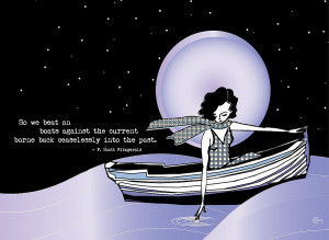 1920s Gatsby Girl Sailing With F Scott Fitzgerald Quote Drawing