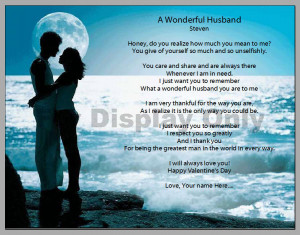 Wonderful Husband Poem Print - Great Anniversary, Wedding, or ...