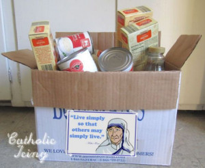... Lent, talk about fasting and alms-giving. After Lent, drop the box off