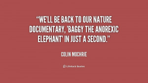 We'll be back to our nature documentary, 'Baggy the Anorexic Elephant ...