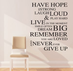 ... about HAVE HOPE INSPIRATIONAL WALL STICKERS QUOTES ART DECALS W59