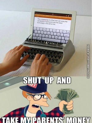funny picture hipster ipad typewriter