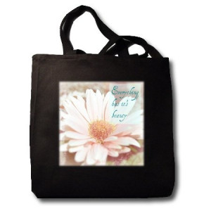 Beauty Inspirational Quote Pink Gerbera Floral Flowers - Black Tote ...