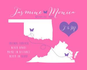Sister Gift Long Distance, Best Friends Maps - 8x10 Art Print ...