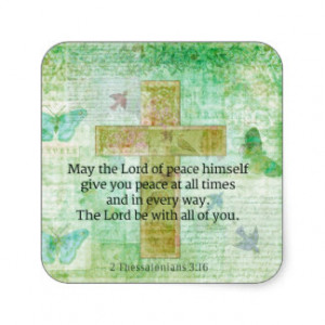 Thessalonians 3:16 Inspirational BIBLE quote Square Sticker