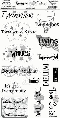 Twins Sayings Scrapbooking Sticker Sheet