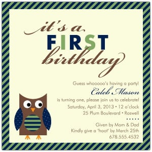 1st Birthday Invitation Wording For Baby Boy Baby owl blue first ...