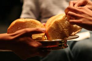 Breaking Communion Bread Breaking bread