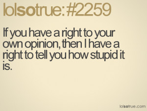 ... to your own opinion, then I have a right to tell you how stupid it is
