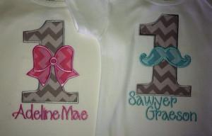 Twinsy Twinkies Boy Girl Twins First Birthday 1st Bow Mustache