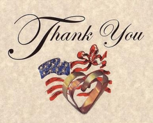 Military Patriotic Theme Wedding Favors Thank You Cards qty 50