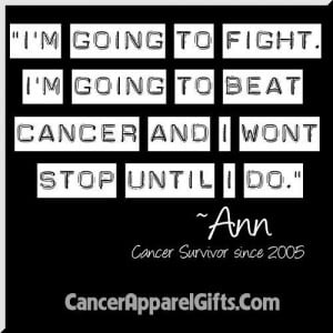 Am Going To Fight Cancer and I Won't Stop Until I Do