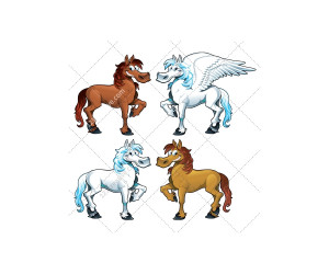 Pegasus Funny Cartoon And Vector Isolated Character Stock
