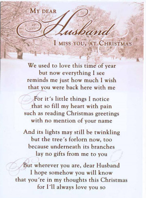 My Dear Husband I Miss you On Christmas - Missing You Quote
