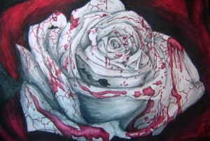 bloody white rose. the rose was made in white red black and grey chalk ...