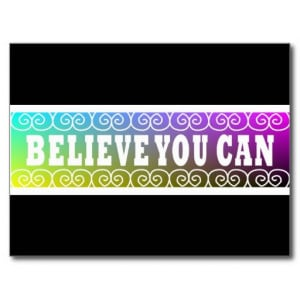 Three Word Quotes ~Believe You Can~ Postcard