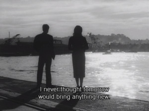 black and white, girl and boy, quote, screencap, subtitles
