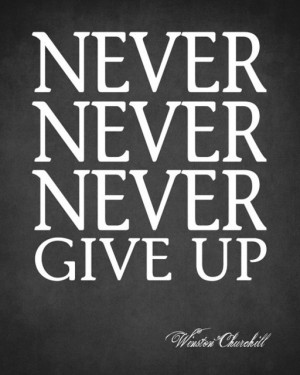 Never Never Never Give Up (Winston Churchill Quote), premium wall ...