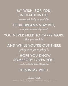 ... Gift Printable File Graduation Gift Rascal Flatts My Wish For You