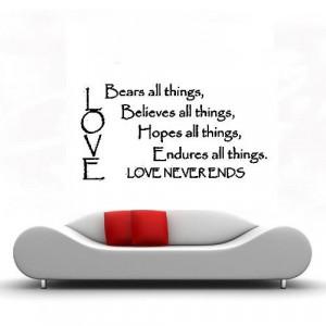 Liebe erträgt alles glaubt alles Hoffnungen... Vinyl wand schriftzug ...