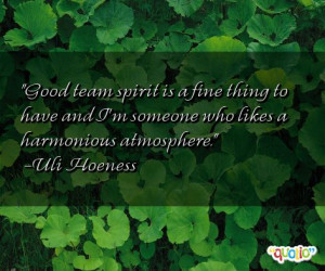 Good team spirit is a fine thing to have and I'm someone who likes a ...