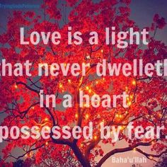 Love and Fear cannot dwell in the same heart. (Baha'i Faith) More