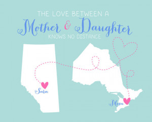 for Mother, Long Distance - 8x10 Custom Maps Art Print, Gift for Mom ...