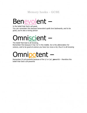 Memory hooks - GCSE (Omniscient, omnipotent, benevolent)