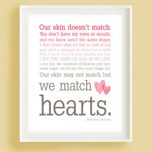 We Match Hearts - Pink Ombre Typography Wall Art - Adoption Quote