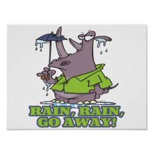 rain rain go away funny rhino april showers blues poster