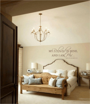 ... bedroom wall decal my beloved is mine and i am his wall quote bedroom
