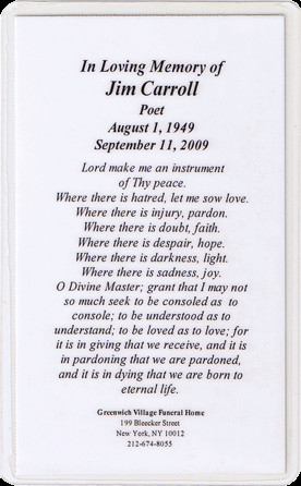 Relics: Jim Carroll's Funeral Card