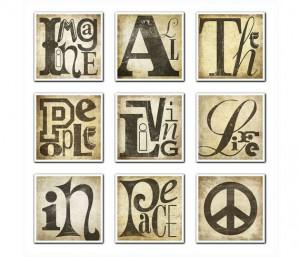 John Lennon Quote Lyric Print Set Digital Typography Art - Imagine All ...