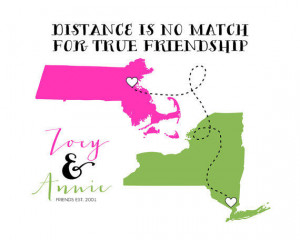Long Distance Best Friends, Custom Map Print 8x10 - Two States, Two ...