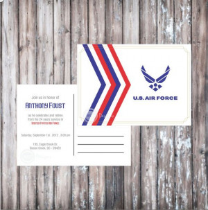AIR FORCE POSTCARD Invitation - Air Force Retirement Party - Air Force ...